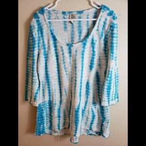 XCVI XL Blue Tie Dye Knit Tunic Top Blouse
